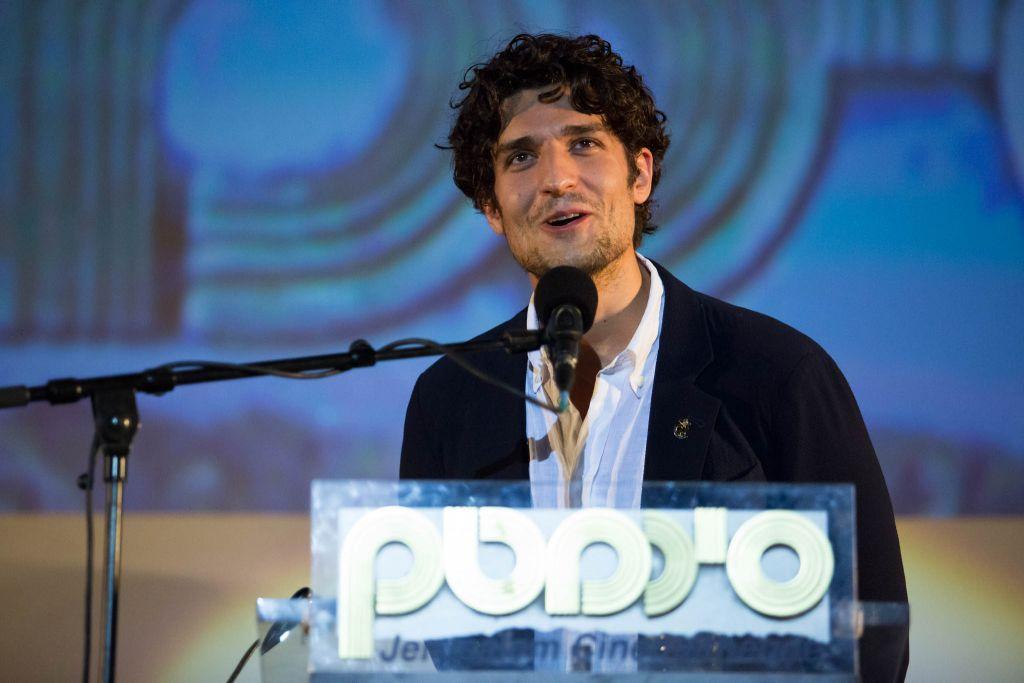"""Louis Garrel présente son dernier film, """"Le redoutable"""", réalisé par Michel Hazanavicius, au Festival 2017 du film de Jérusalem. (Crédit : Yam Vigniola)"""