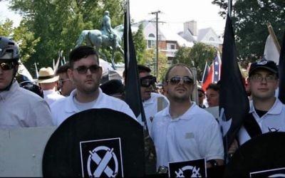 James Fields, 2e à gauche, suspect de l'attaque à la voiture bélier de Charlottesville, pendant le rassemblement de l'extrême-droite américaine en Virginie, le 12 août 2017. (Crédit : capture d'écran Twitter/Alan Goffinski)