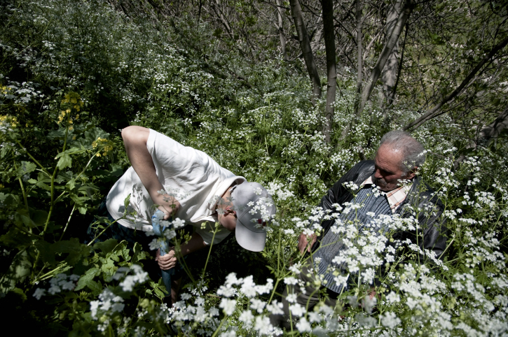 Un ancien habitant du village abandonné de Lifta supervise un jeune Arabe israélien sui plante un arbre le jour de la terre (Crédit : Ruben Salvadori / Flash90)