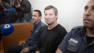 L'ancien ministre du Tourisme Stas Misezhnikov au tribunal, le mercredi 24 décembre 2014, (Crédit : FLASH90)