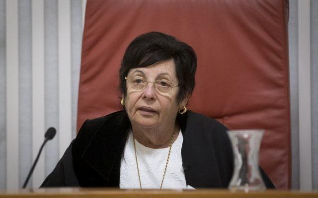 Miriam Naor, présidente de la Cour suprême, à Jérusalem, le 26 décembre 2016. (Crédit : Yonatan Sindel/Flash90)