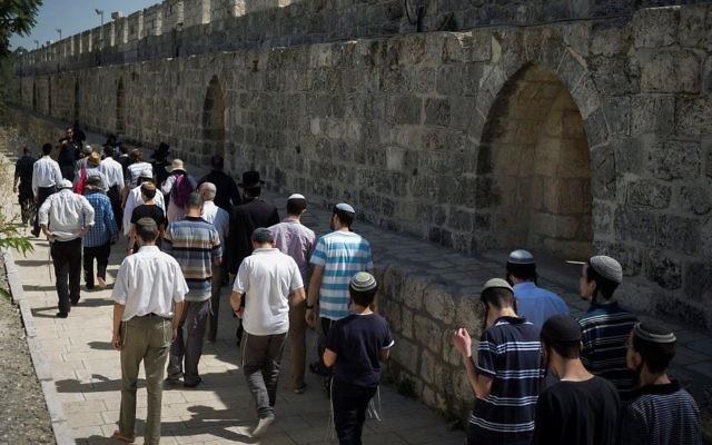 Escorte policière autour d'un groupe de Juifs religieux au mont du Temple, dans la Vieille Ville de Jérusalem, le 18 juillet 2017. (Crédit : Hadas Parush/Flash90)
