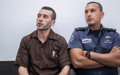 Muhammad Harouf (à gauche), résident de Naplouse, assiste à une audience à la Cour de la magistrature de Jérusalem, le 2 août 2017 (Yonatan Sindel / Flash90)