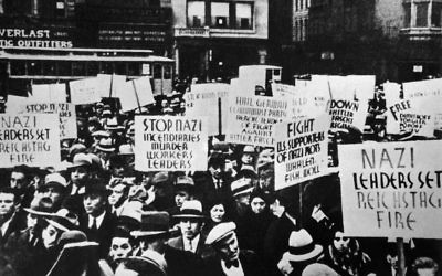 Manifestation devant la légation allemande, à New York, en 1933. (Crédit : Keystone-France/Gamma-Keystone via Getty Images)