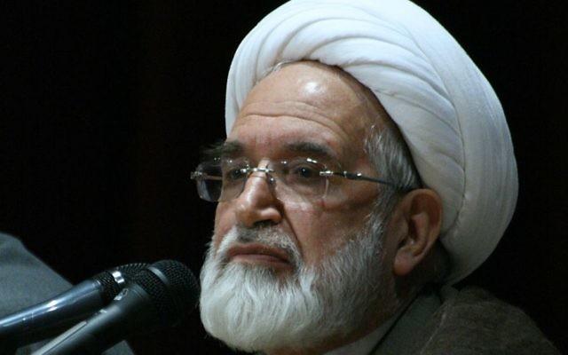 Mehdi Karoubi à l'université Zanjan d'Iran, en 2009. (Crédit : Mardetanha/CC BY-SA 3.0/WikiCommons)