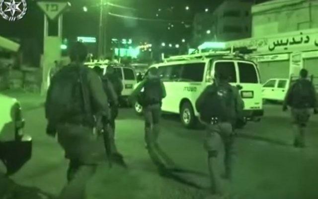 Opération de la police à Jérusalem Est, le 14 août 2017. (Crédit : police israélienne)