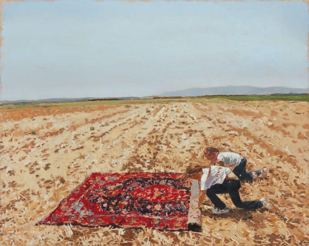 Fatma Shanan utilise les membres de sa famille et ses amis comme personnages dans ses peintures, comme cela a été le cas avec l'oeuvre 'Razan et Edan 2012' (Autorisation : Fatma Shanan)