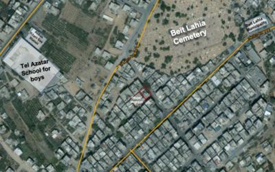 Image satellite fournie par l'armée israélienne et présentant l'emplacement d'un tunnel du Hamas, construit sous un immeuble résidentiel du nord de la bande de Gaza. Photographie diffusée le 9 août 2017. (Crédit : armée israélienne)