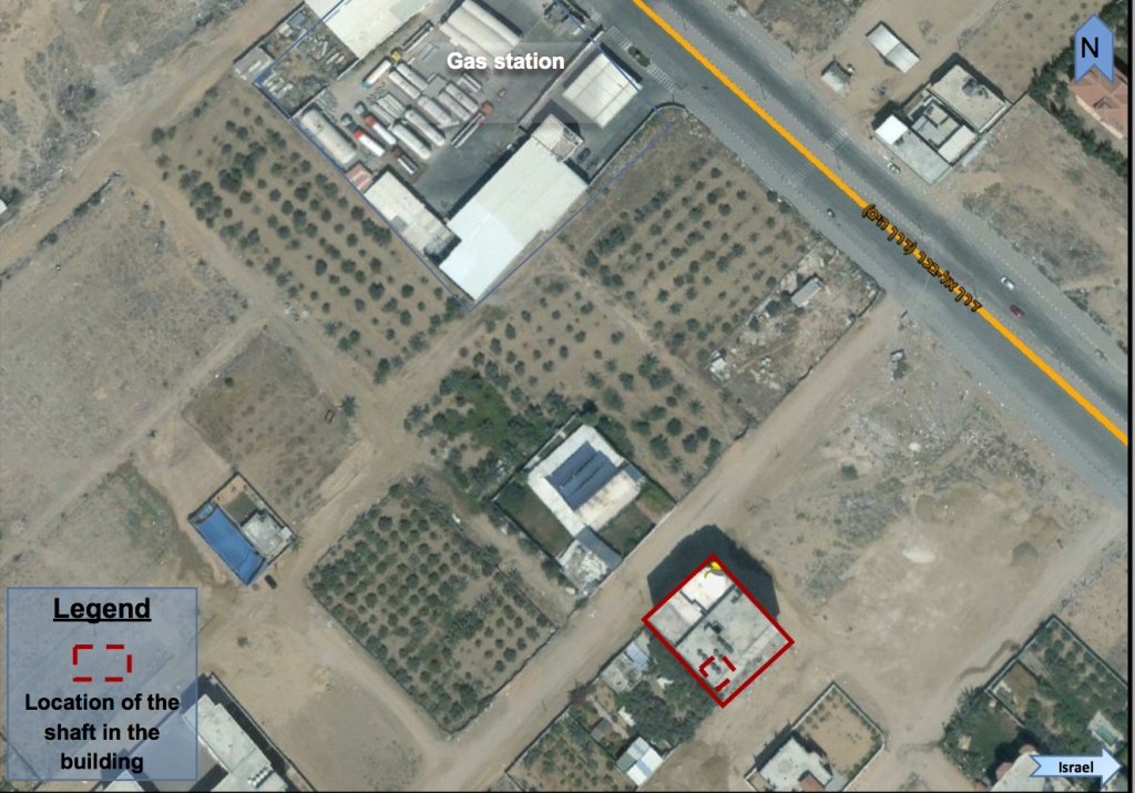 Image satellite fournie par l'armée israélienne et présentant l'emplacement d'un tunnel du Hamas, construit sous une maison du nord de la bande de Gaza. Photographie diffusée le 9 août 2017. (Crédit : armée israélienne)