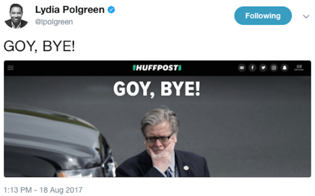 Capture d'écran du tweet de la rédactrice en chef du huffPost, Lydia Polgreen, le 18 août 2017. (Crédit : capture d'écran Twitter via JTA)