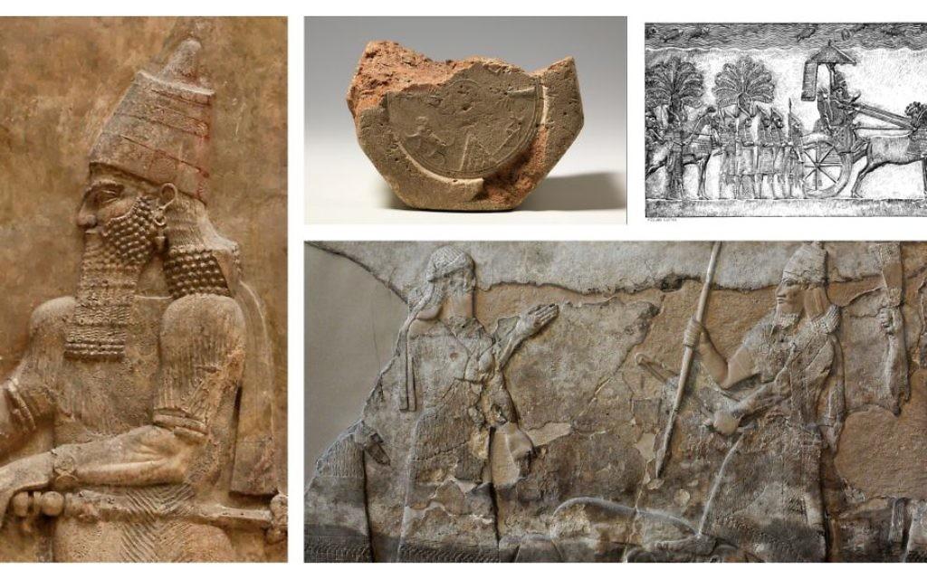 Les personnages bibliques que  Lawrence Mykytiuk  clame avoir vérifié. Dans le sens des aiguilles d'une montre, depuis la gauche : Sargon II; le prisme cunéiforme décrivant la restauration de Babylone par Esarhaddon;  une représentation du Roi  Sennacherib, de son palais de Ninive,  Tiglath-pileser III, du palais de Nimrud (Crédit : Domaine public)