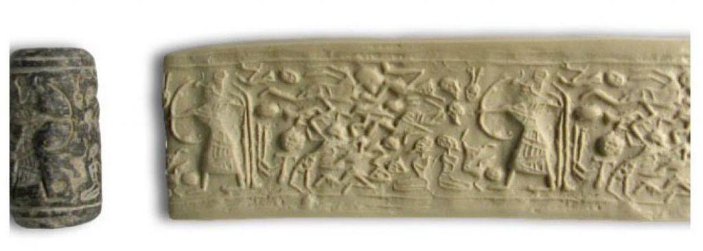 Un sceau en cylindre dépeint le Dieu Levantin  Reshef (avec une tête de gazelle)  en train de manier un arc en direction de 12 ennemis et de deux captifs à genoux (Crédit : Institut Tandy d'archéologie)