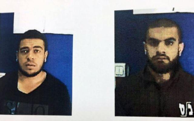 Na'im Abd al-Karim Qassem Jabarin, à gauche, et Mahmoud Abd al-Karim Qassem Jabarinl, deux frères israéliens arabes soupçonnés de soutenir l'organisation terroriste de l'État islamique qui ont été arrêtés en juillet 2017. (Crédit : Shin Bet)