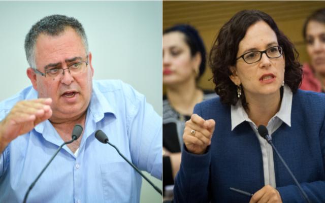 Les députés David Bitan (Likud) etRachel Azaria (Koulanou) (Crédits : Flash90 et Miriam Alster / Flash90)