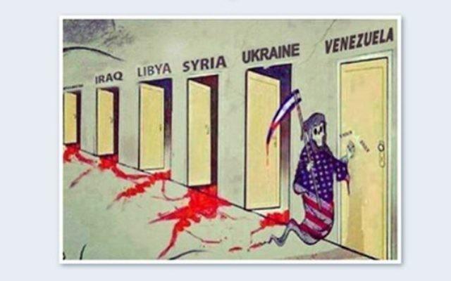 La caricature courrait sur le 'web complotiste' depuis 4 ans avant d'être reprise dans une selection de dessin par le site Les Crises (Crédit capture d'écran Twitter)