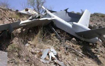 Un drone Harop fabriqué en Israël, qui aurait été utilisé par l'Azerbaïdjan pour faire exploser un bus dans la région de Nagorno-Karabakh, en avril 2016. (Crédit : Facebook)