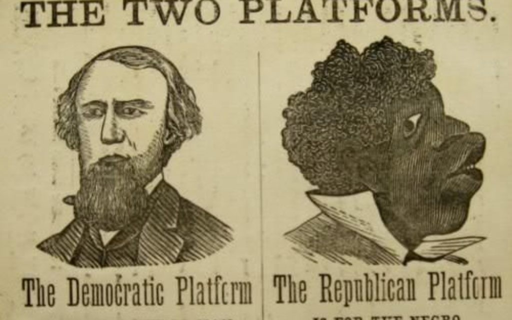 Exemple de propagande politique raciste aux Etats-Unis, que les idéologues nazis ont étudié pour formuler leurs propres lois raciales. (Crédit : domaine public)