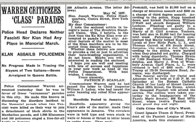 Un article du New York Times datant du mois de mai 1927 rapporte l'arrestation de Fred Trump, père de l'actuel président des Etats-Unis (Crédit: capture d'écran Twitter)