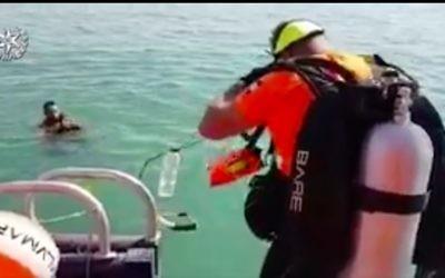 Les équipes de secours de la police recherchent un touriste sud-coréen porté disparu dans le lac de Tibériade deux jours auparavant, le 5 août 2017 (Capture d'écran : police israélienne)