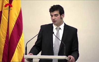 Le porte-parole de la communauté juive de Barcelone  Victor Sorrenssen ( Capture d'écran :  YouTube)