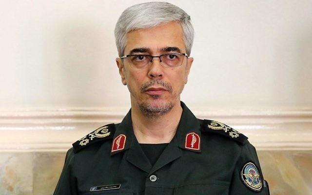 Le chef d'état-major iranien, le général Mohammad Hossein Bagheri, en juin 2016. (Crédit : Tasnim News Agency/CC BY 4.0/WikiCommons)
