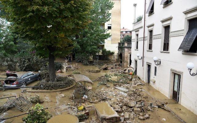 Les dégâts dans la région de  Livorno, inondée après de fortes pluies, le 10 septembre 2017 ( Crédit : STR/AFP PHOTO)