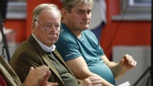 Alexander Gauland, directeur de la campagne du parti allemand d'extrême-droite AfD, pendant un meeting à Francfort sur Oder, dans l'est de l'Allemagne, le 11 septembre  2017. (Crédit : Odd Andersen/AFP)