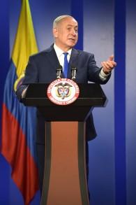 Le Premier ministre Benjamin Netanyahu au palais présidentiel de Bogota, le 13 septembre 2017. (Crédit : Raul Arboleda/AFP)