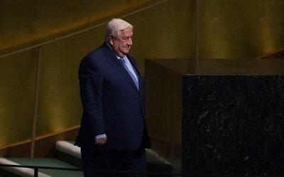 Walid al-Moualem, ministre syrien des Affaires étrangères, devant la 72e Assemblée générale des Nations unies, à New York, le 23 septembre 2017. (Crédit : Bryan R. Smith/AFP)