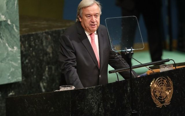 Antonio Guterres, secrétaire général des Nations unies, à l'ouverture de la 72e Assemblée générale de l'institution, à New York, le 19 septembre 2017. (Crédit : Spencer Platt/Getty Images/AFP)
