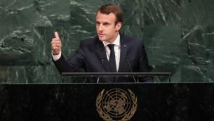 Emmanuel Macron, lors de la 72ème Assemblée générale de l'ONU à New York, le 19 septembre 2017.  (Crédit : Drew Angerer/Getty Images North America/AFP)