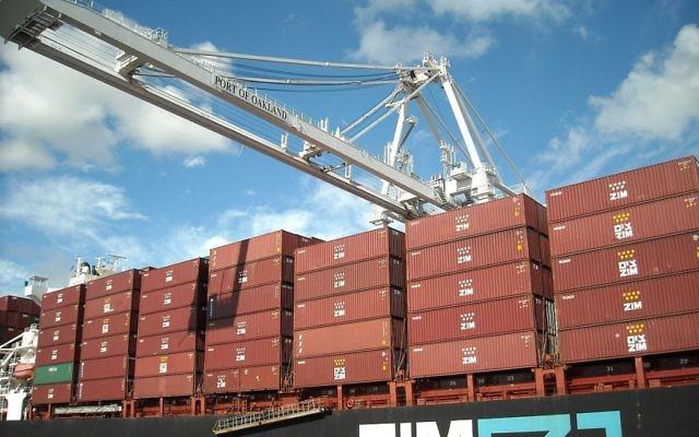 Un porte-conteneurs de la compagnie maritime Zim. Illustration. (Crédit : Daniel Ramirez/CC BY 2.0/WikiCommons)