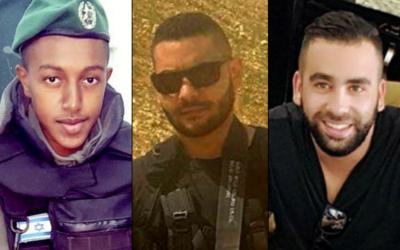 De gauche à droite : Solomon Gavriyah, Youssef Ottman et Or Arish, les trois Israéliens tués dans un attentat à Har Adar, le 26 septembre 2017. (Crédit : autorisation)