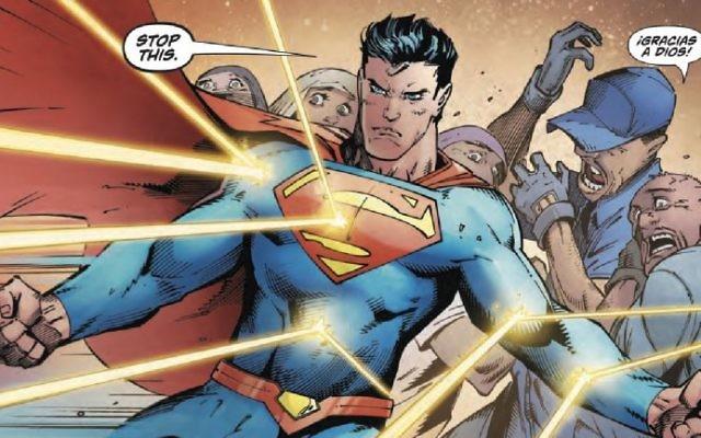 Superman défend les migrants d'un suprématiste blanc dans le dernier numéro d'Action Comics, publié en septembre 2017. (Crédit : capture d'écran Twitter)
