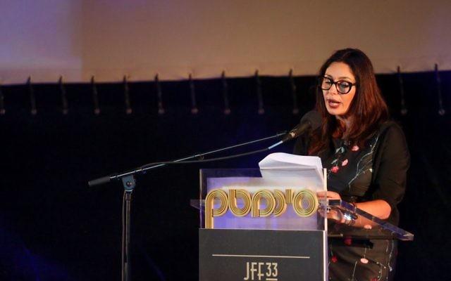 Miri Regev, ministre de la Culture, huée au Festival du film de Jérusalem, le 8 juillet 2016. (Crédit : Miriam Alster/Flash90)