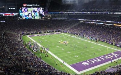 Le stade des Minnesota Vikings qui est équipé de la technologie FreeD d'Intel développée par Replay Technologies d'Israël (Crédit : Autorisation Intel)