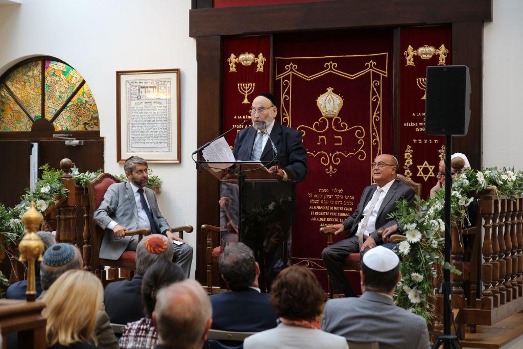 René-Samuel Sirat, ancien grand rabbin de France, inaugure la toute nouvelle Maison Rachi, à Troyes, le 10 septembre 2017. (Crédit : Maxime Bokobza)