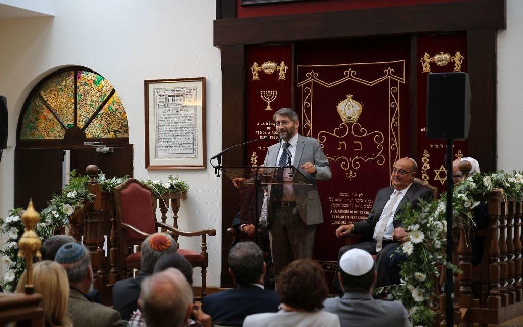 Le grand rabbin de France, Haim Korsia, inaugure la toute nouvelle Maison Rachi, à Troyes, le 10 septembre 2017. (Crédit : Maxime Bokobza)