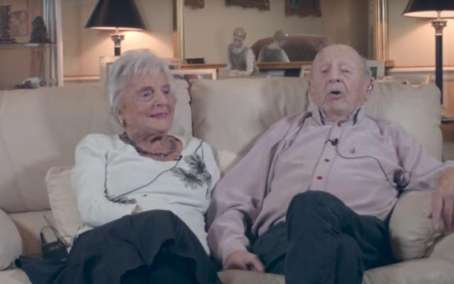 Helen et Maurice Kaye, 104 et 105 ans, mariés depuis 83 ans, en août 2017. (Crédit : capture d'écran YouTube)