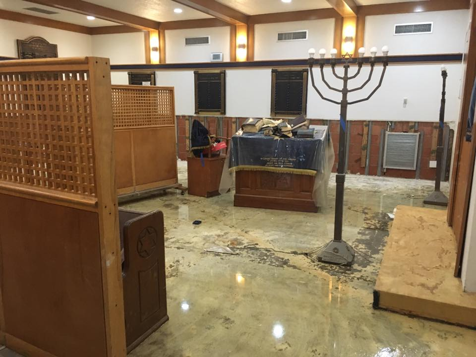 Une synagogue de Houston au Texas, après le passage de l'ouragan Harvey, le 3 septembre 2017. (Crédit : Joshua Wander)