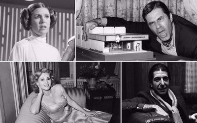 Dans le sens des aiguilles d'une montre, depuis en haut à gauche : Carrie Fisher, Jerry Lewis, Leonard Cohen et Zsa Zsa Gabor. (Crédit : Getty Images/via JTA)