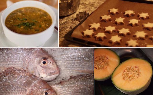 A partir d'en haut à gauche dans le sens des aiguilles d'une montre : Une soupe Harira, des gâteaux  Zimtsterne, des graines de melon cantaloup et des dorades (Crédit : Wikimedia Commons/Flickr Commons/Getty Images/via JTA)