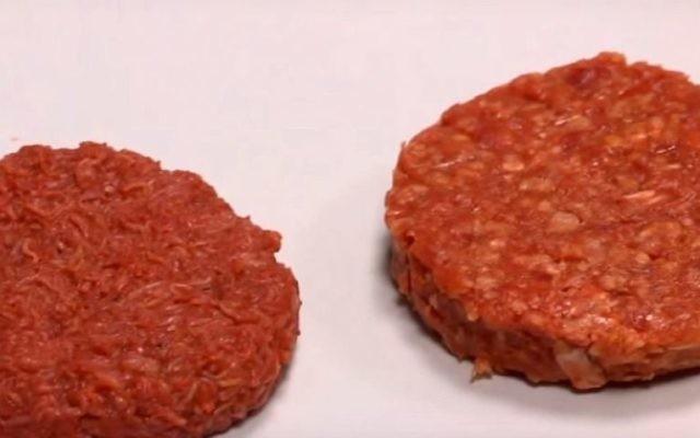 Des steaks hachés produits à partir de cellules animales dans un laboratoire (Crédit : Capture d'écran Youtube)