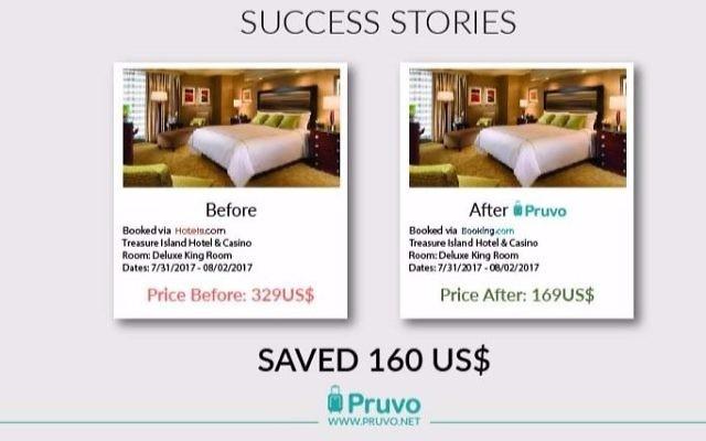 Capture d'écran du site de la start-up israélienne Pruvo qui cherche à rendre la réservation d'hôtel encore moins chère en effectuant un suivi des prix (Crédit : Autorisation)