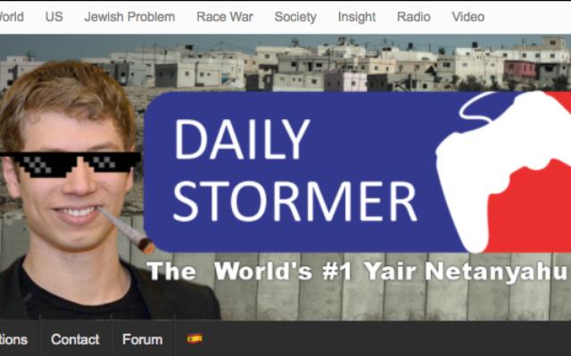 Le site internet néo-nazi Daily Stormer présente en page d'accueil Yair Netanyahu, le fils du Premier ministre Benjamin Netanyahu, le 12 septembre 2017. (Crédit : capture d'écran)