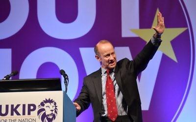 Henry Bolton, élu à la tête du parti britannique Ukip, le 29 septembre 2017. (Crédit : Ben Stansall/AFP)