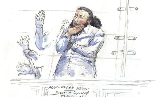 Abdelkader Merah pendant son procès à Paris, le 3 octobre 2017. (Crédit : Benoit Peyrucq/AFP)
