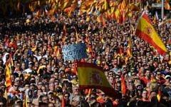 Manifestation contre l'indépendance de la Catalogne à Barcelone, le 29 octobre 2017. (Crédit : Lluis Gene/AFP)