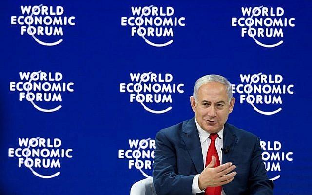 Le Premier ministre Benjamin Netanyahu à la réunion annuelle du World Economic Forum (WEF) le 25 janvier 2018 à Davos, en Suisse. (Crédit : AFP / Fabrice Coffrini)
