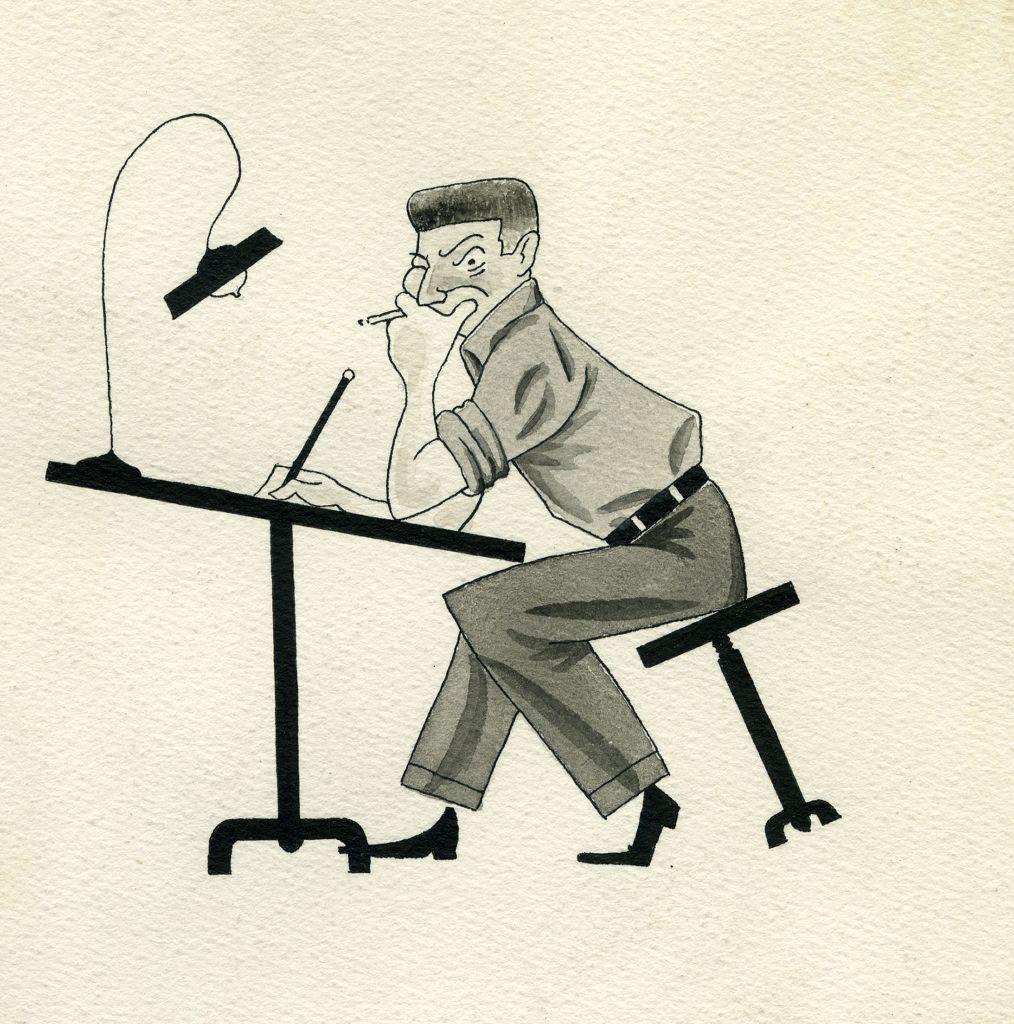 Autoportrait à la table à dessins en 1948. (Crédit : Anne Goscinny. Prêt de l'institut René Goscinny via le Musée d'art et d'histoire du judaïsme)